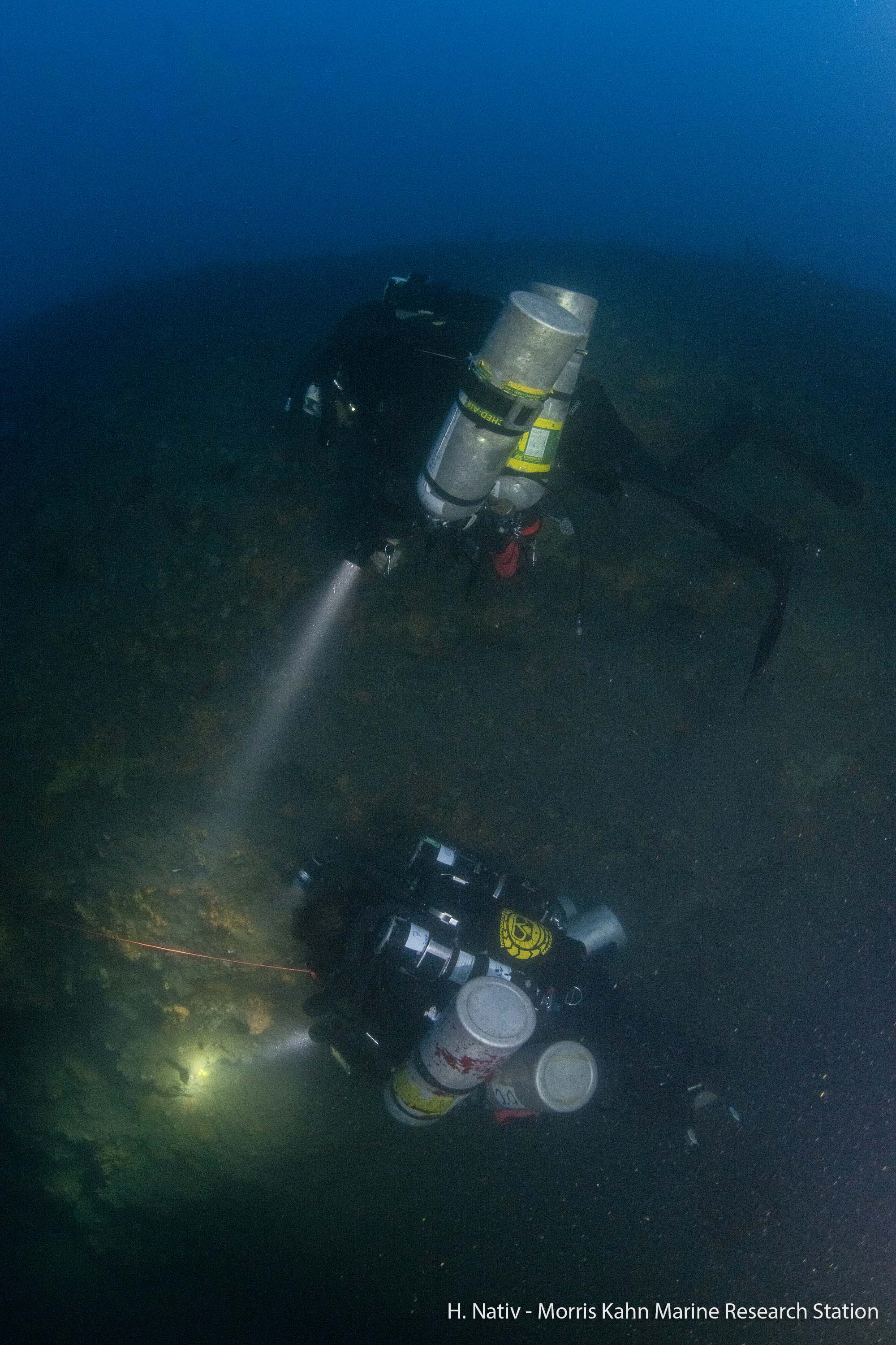 CCR Divers exploring the bottom of the EMS at 85 meter