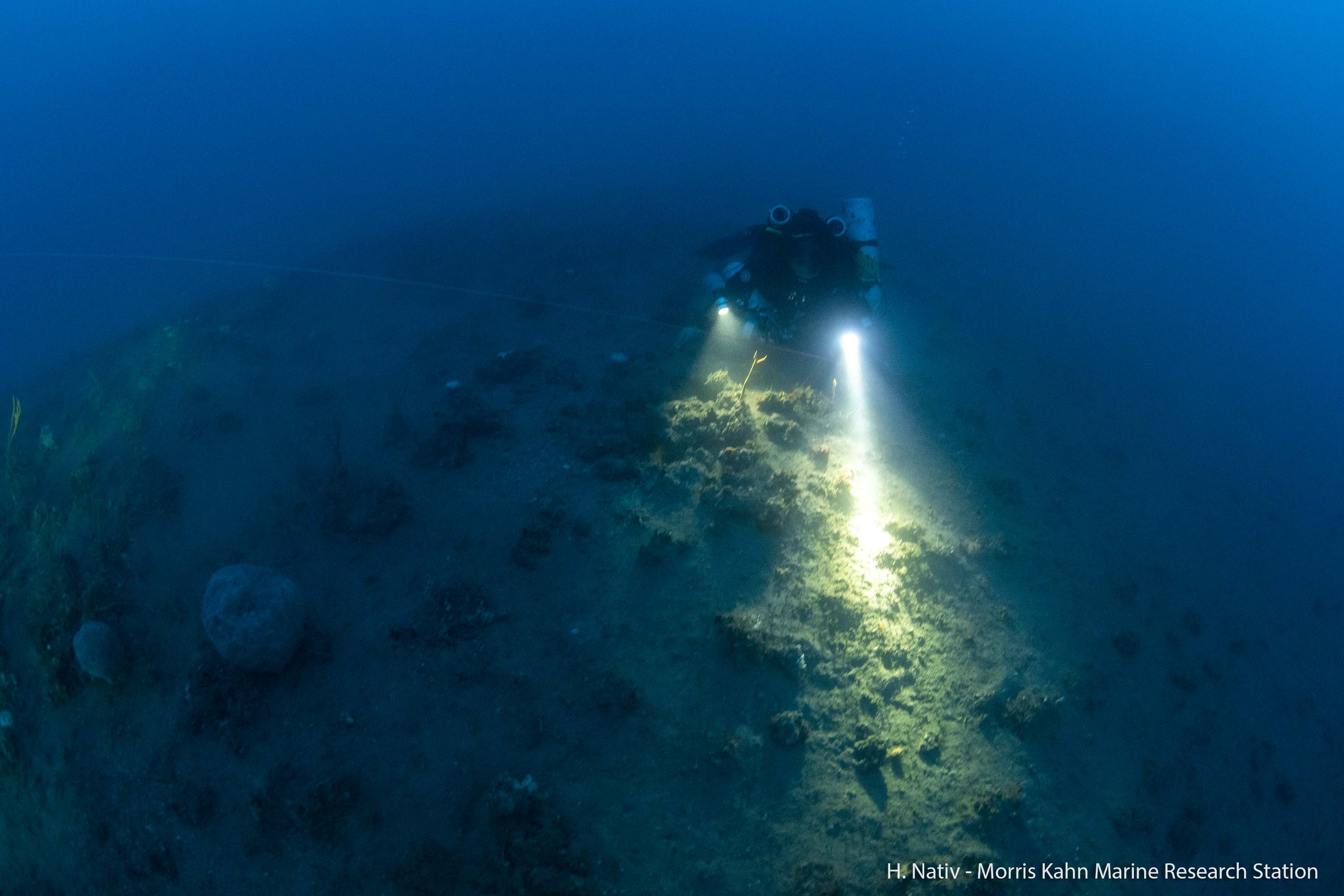 Researcher explores the sea bottom at 85 meter of depth